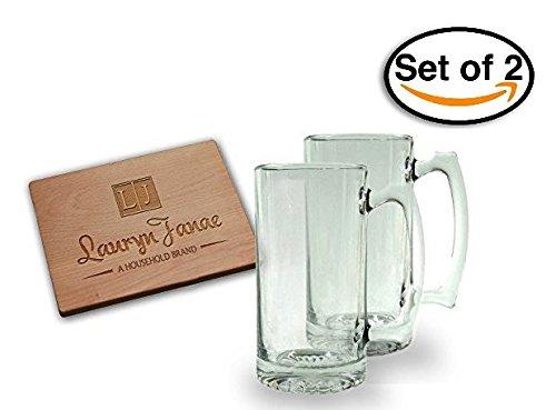 Lauryn Janae Premium Glassware 26.5oz Extra Tall/Large Super Size, Brewmasters, Homebrewers, Beer Lovers, Glass Beer Stein, Tankard Drinkware Beer Mug (Set of 2) by Lauryn Janae