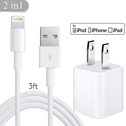 iPhone Charger, Travel Wall Power Adapter + Lightning Cable, USB Data Charge Sync Cable Compatible with iPhone Xs/Max/XR/X/ 8/Plus/ 7/Plus/ 6/Plus/ 5S, Ipad (White)