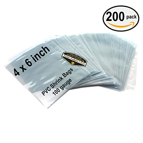 200 pcs Quality Shrink Wrap Bags 4 x 6 inch for Bath Bombs, DIY Crafts, Handmade Soaps by Mighty Gadget (R) – 100 Gauge Thickness