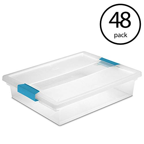 STERILITE 19638606 Large File Clip Box Clear Storage Tote Container Lid (48 Pack)