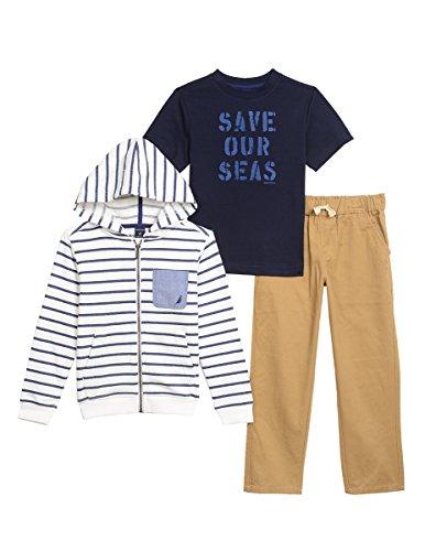 Hoodie Fleece Pants (Nautica Baby Boys' Fleece Hoodie, Short Sleeve Tee, and Twill Pant Set, Cream, 24 Months)