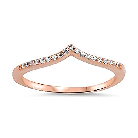 Sterling Silver Clear CZ Rose Gold Plated Chevron Ring - Size 7 (Chevron Cz Ring)