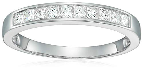 - 1/2 cttw Princess Cut Channel Diamond Wedding Band 14K White Gold Size 7