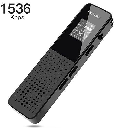 Voice Recorder, 8GB 1536Kbps Digital Audio Sound Recorder Dual Microphone Dynamic Noise...