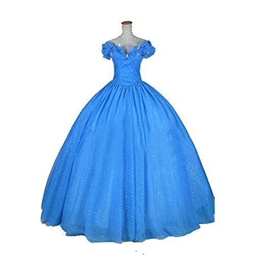 Coswe Womens Deluxe Blue Cinderella Princess Ball Gown Prom Costume Dress