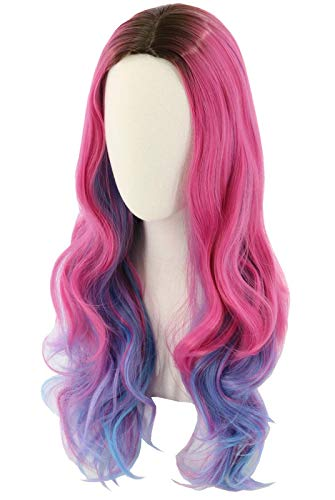 Topcosplay Womens Wig Long Wavy Pink Mixed Blue Halloween Costume Party Wig Black Roots (Adult)
