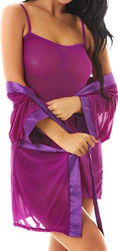 Womens 3 Pieces Kimono Robe Chemise Lingerie Set(XL,Purple)