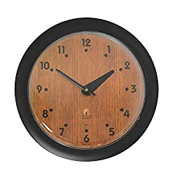 Chicago Lighthouse 14 Oak Veneer Traditional Wall Clock, Black, Quiet
