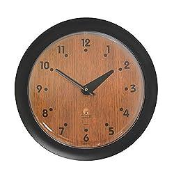 Oak Veneer -Sleek Black Frame-14 Fashion Wall Clock-Traditional