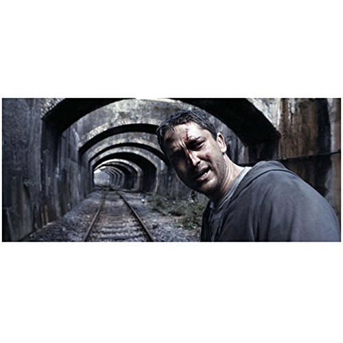 RocknRolla Gerard Butler as One Two Wearing Hoodie Cut on Face Leaning Head Turned Railroad Tracks Background 8 X 10 Inch Photo ()