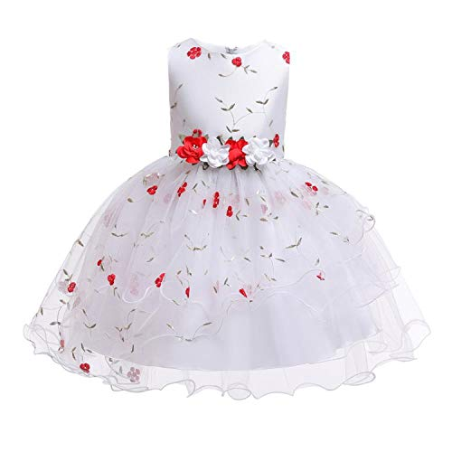 2019 New Christmas Princess Girls Party Dresses for Party Baby Fashion Pink Tutu Dress Girls Wedding Dress Kids Dress,Red,8 ()