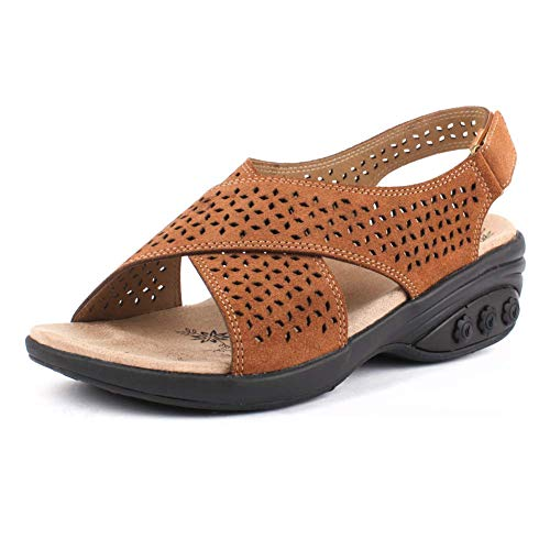- Olivia Adjustable Cross Strap Sandal - for Plantar Fasciitis/Foot Pain Cognac
