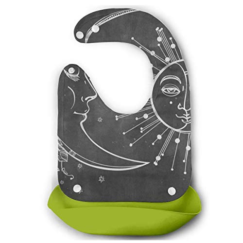 Baby Bib Elegant Crescent Moon Face Infant Washable, Stain And Odor Resistant, 3-9 Months