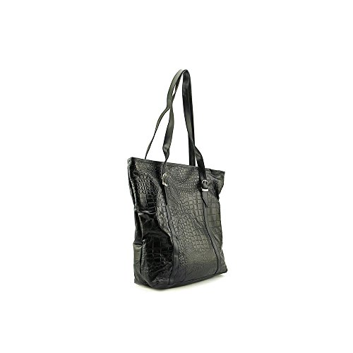 New Embassy Black Genuine Leather 3pc Large/Small/Cosmetic Purse Set With Crocodile Embossing