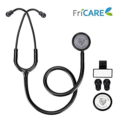 FriCARE Lightweight Dual Head Stethoscope for Medical Professionals Doctors, Aluminum Chestpiece and Headset, All Black Matte Finish Tube