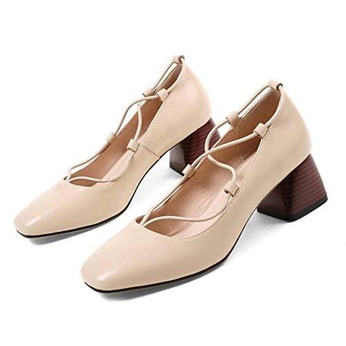 Blanc ZHZNVX Chaussures Femme Nappa Cuir Printemps Confort Talons Chunky Heel Blanc Marron Bleu 36.5 EU