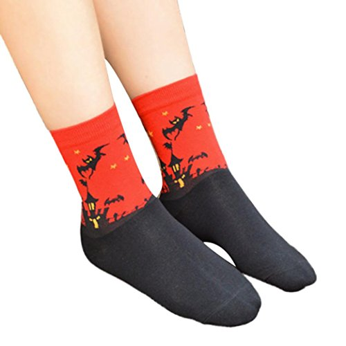 Gotd Women's Cartoon Pattern Casual Cotton Socks 1 Pair (Red) (Pattern Casual Cartoon)