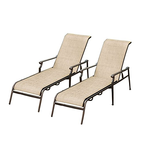 Oakland Living AZ3030-CL2-AB Beige Brown Sling Aluminum Metal Pool Chaise Lounges, One Size, Bronze