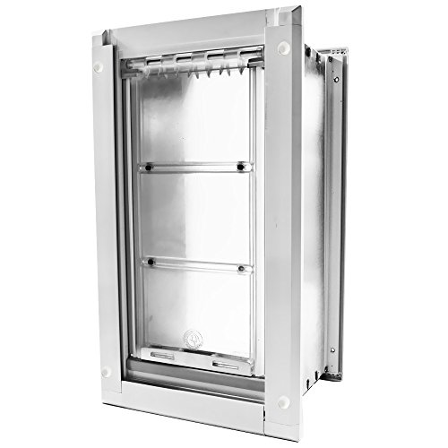 Extreme Dog Fence Endura Flap Small (White) Wall Mount – Double Flap 6″ x 10″ Pet Door with Free Dog Grooming Glove Bundle