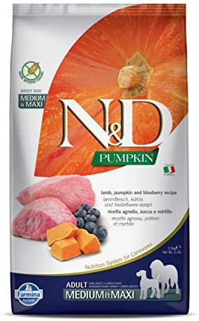 Farmina N D Dog Dry Grain Free Pumpkin Medium Maxi Lamb Blueberry 5.5 Pound
