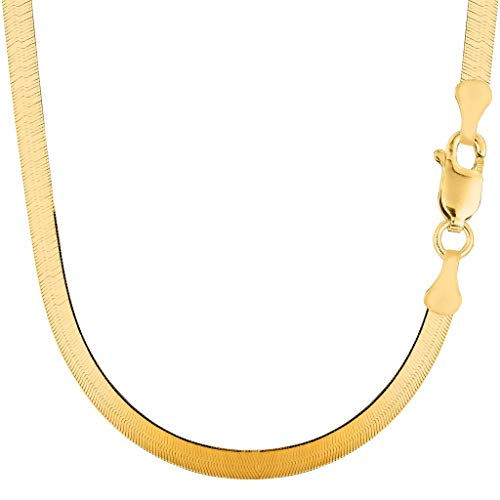 - 14K Yellow Gold 4.7mm Shiny Imperial Herringbone Chain Necklace or Bracelet for Pendants and Charms with Lobster-Claw Clasp (7