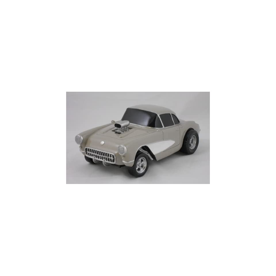 1957 CORVETTE GASSER, GRAY AND WHITE, COLLECTIBLE 118 SCALE MODEL, HOT ROD, STREET ROD, DRAG RACING CAR