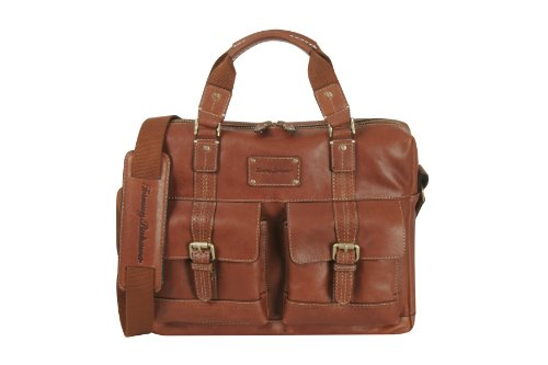 Delsey Briefcase - Tommy Bahama Canvas Messenger Bag - Satchel Shoulder Bag for Men Large Bookbag with Padded Laptop Pocket, Cognac