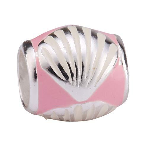 Sterling Silver Charm Pink Sea Shell Charm Bead fits All Charm Bracelets Women Girls Birthday Gifts EC68