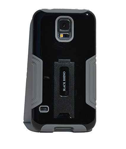 Galaxy S5 Case Black Protective Hybrid Dual Layer Combo Case with Kickstand Tough Armor Heavy Duty Skin Case Cover for the Samsung Galaxy S5 Smart Phone : Black Rhino (Black Color)