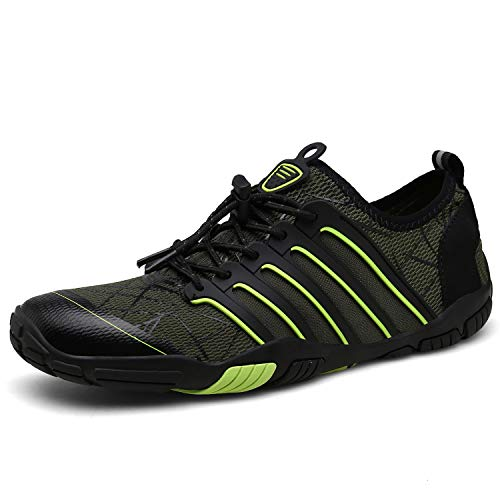 UBFEN Mens Water Shoes Upstream Aqua Shoes Swim Shoes Beach Sports Quick Dry Barefoot for Boating Fishing Diving Surfing with Drainage Driving Yoga 10 Women / 8 Men C Green (Best Barefoot Shoes 2019)