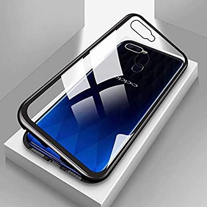 sports shoes 6f5b4 7dd8c Vodex Magnetic Case for Oppo F9 Pro,Clear Tempered Glass Hard Back Cover  [with Built-in Magnets Metal Bumper Frame],360° Full Protection Ultra Slim  ...