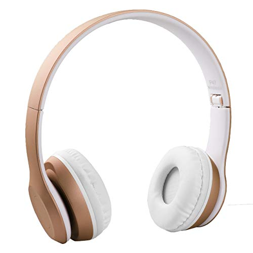P47 Wireless Bluetooth Portable Sports Headphones with Microphone, Stereo Fm, Memory Card (Gold)