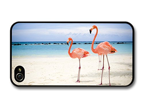 Two Pink Flamingos On The Beach coque pour iPhone 4 4S