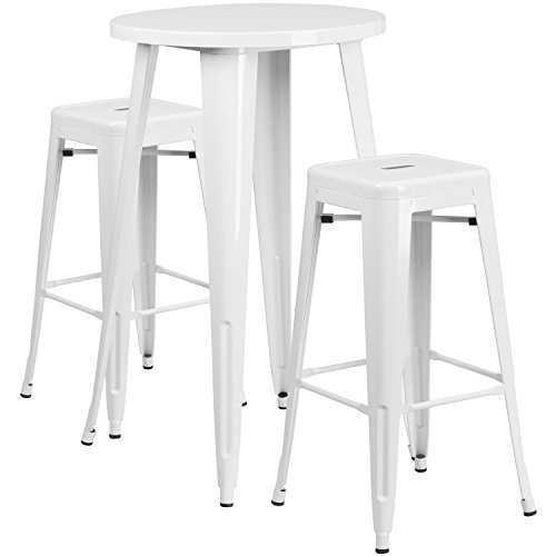 Round White Metal Indoor-Outdoor Bar Table Set with 2 Square Seat Backless Stools (Bar Stool 24' Base)