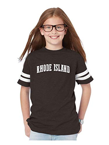 Mom`s Favorite Rhode Island State Flag Providence Traveler`s Gift Youth Unisex Football Fine Jersey Tee (YXLSMG) Smoke Grey for $<!--$18.98-->