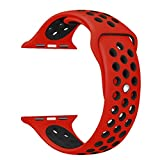Yearscase 42MM Soft Silicone Sport Replacement Band with Ventilation Holes for Apple Watch Nike+ and Apple Watch Series 1 2 3, M/L Size ( Red / Black )