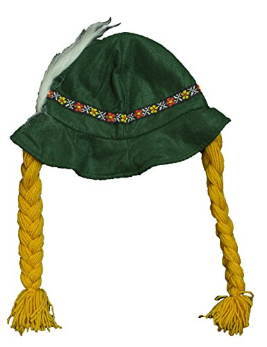 Costume Accessory - Soft Felt Alpine Hat w/ Braids and Feather ()