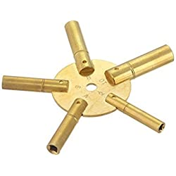 Brass Winding Key for Clock : (5 Prong EVEN Numbers (5024))