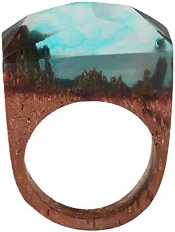 Handmade Natural Wood Resin Rings Fantastic Blue Cloudy Landscape Jewelry For Women