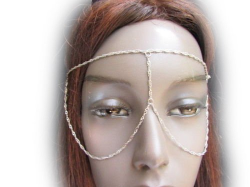 TFJ Women Sexy Halloween Half Face Eye Mask Costume Metal Glasses Head Chains Silver
