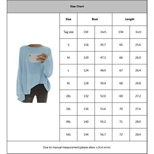 T Lunghe 5xl shirt Con S Maniche Donna A Tondo Scollo Rotondo Da Blu FwprFqS