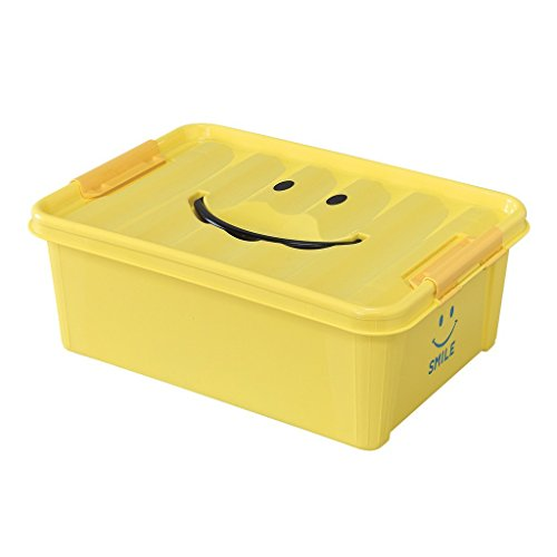 Time Concept Kids Smile Plastic Storage Box - Small, Yellow - Clothing Bin, Toy Container, Stackable Organizer