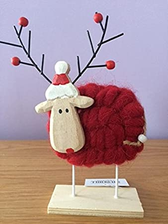 Wooden Woolly Reindeer Ornament Amazoncouk Kitchen  Home