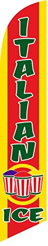Italian Flag Sign - Italian Ice Feather Banner Swooper Flag - NO WIND REQUIRED - Replacement FLAG ONLY