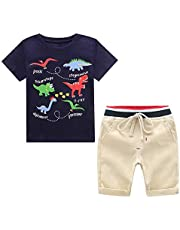 Yilaku Summer Baby Clothes Baby Boy Clothes Set 2 Pcs Car Print Cotton Short Sleeve Shirt Shorts Outfits Set