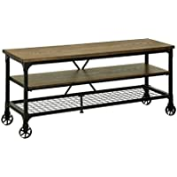 "HOMES: Inside + Out ioHOMES Engels Industrial 72"" TV Stand, Medium Oak"