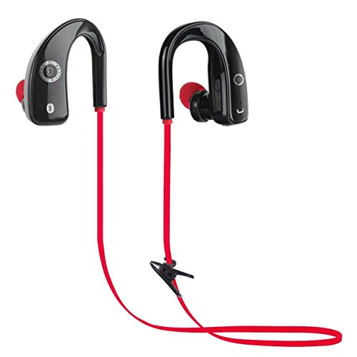 Basic N Beyond BB24 Bluetooth Headphones, Wireless 4.0 Earbuds Stereo Earphones, Secure Fit for Sports with Built-in Mic [Upgraded Version] Black Red