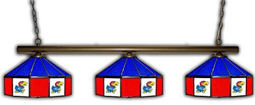 Kansas Jayhawks Stained Glass (Kansas Pub Light w/ Jayhawks Logo - 3 Shade Stained Glass)