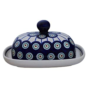 Bunzlauer Butter Dish dose Small Oval for 1/2 Block of Butter [Decorative Pattern 8]