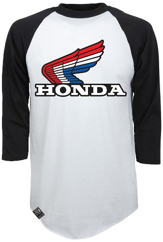 Factory Effex (17-87334) 'HONDA' Vintage Raglan Baseball Shirt (White/Black, Large)